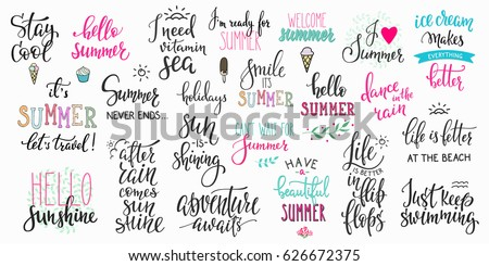 Hello summer lettering typography quote set. Calligraphy graphic design element. Hand written style. Simple vector brush sign. Stay cool Adventure awaits Ice cream Smile Travel Vitamin sea Flip flops