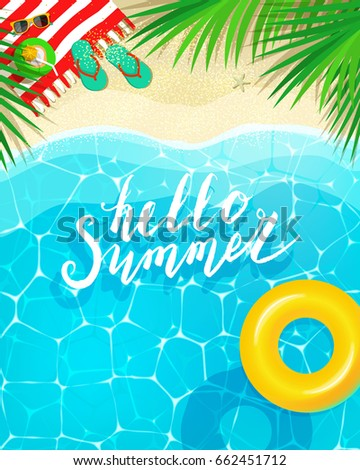Hello Summer message on marine background. Sea and palm trees top view. Vector illustration.
