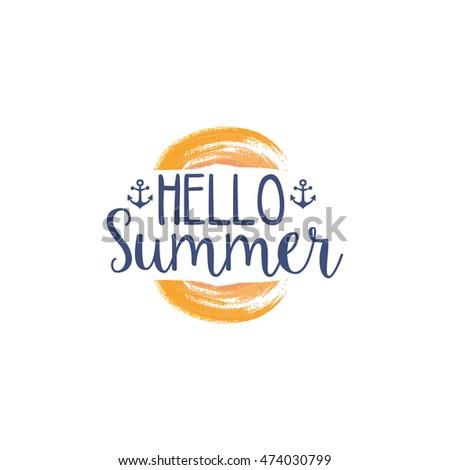 hello summer message watercolor