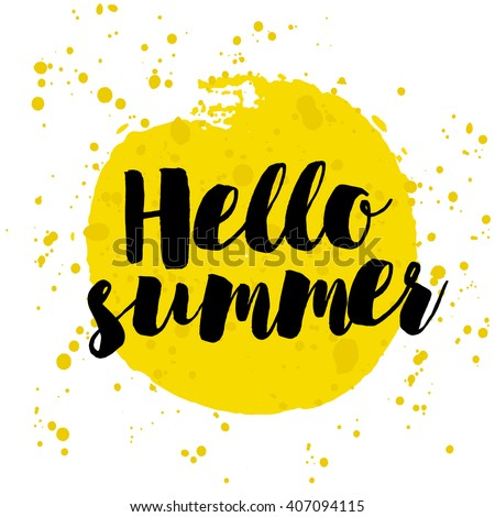 Hello Summer on watercolor. Summer Time logo Templates. Isolated Typographic Design Label. Summer Holidays lettering for invitation, greeting card, prints and posters. Enjoy The Beach party