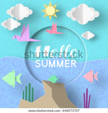 Hello Summer. Paper Applique Symbols, Sign and Objects with Text illustrate the Greeting of the Summertime. Art Background. Template for Banner, Card, Logo, Poster, Label. Design Vector Illustrations.