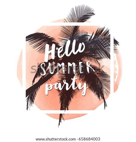 hello summer party watercolor