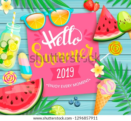 Hello summer 2019 pink card or banner with handdrawn lettering on blue wooden background with watermelon, detox, ice, ice cream,sunglasses and candy, blueberry. Vector Illustration.