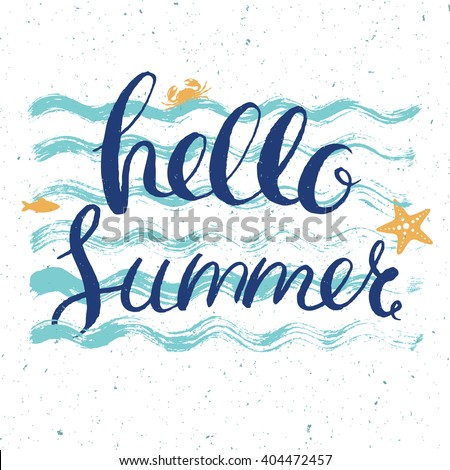 hello summer post card with lettering on blue wavy background