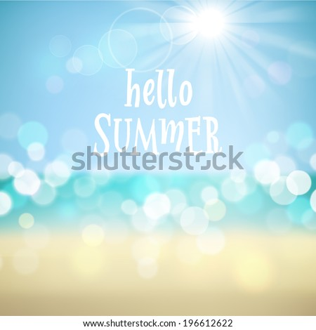 Hello summer. Poster on tropical beach background. Vector eps10.