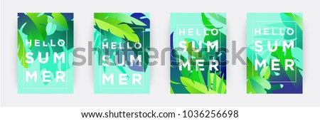 Hello Summer posters set. Tropical themed backgrounds. Green palm leaves with typographic composition. Seasonal sale or promotional templates for print or web. Flat style vector illustration