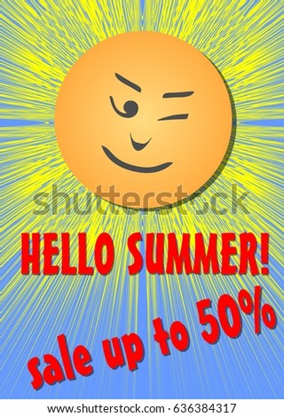 Hello summer, sale or discount flyer, cheerful sun with emotikon face Stock fotó ©