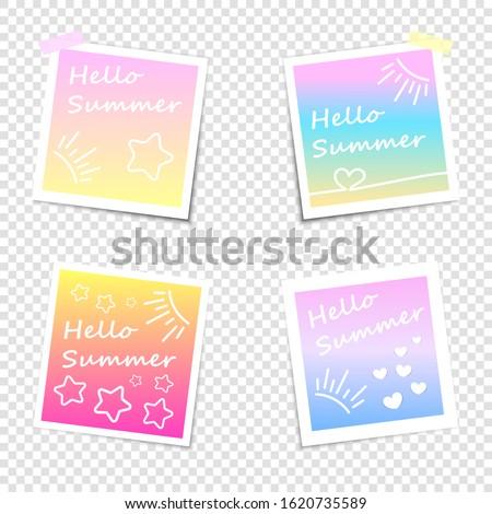 Hello summer. Set of Instant photo with shadow on a transparent background. Photo frame, imitation polaroid photo.