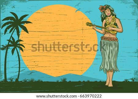 Hello summer sign board, Hula girl playing ukulele, vector