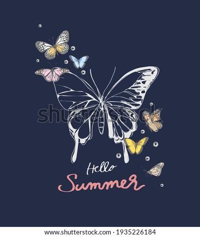 hello summer slogan with butterflies and diamond  illustration