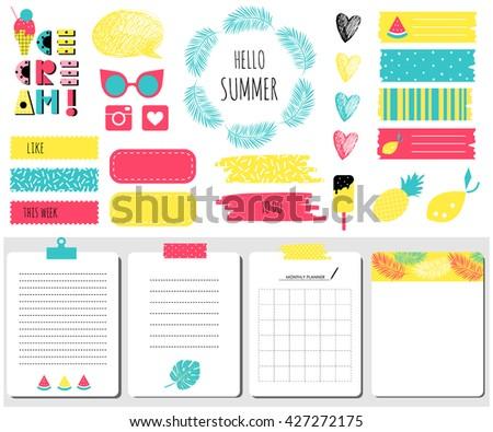 hello summer sticker  icons