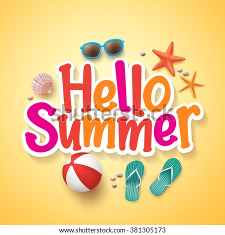 hello summer text title poster