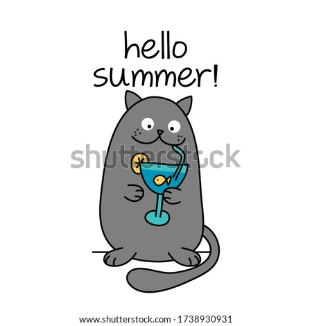 hello summer text with cute cat