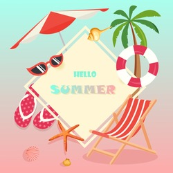 Hello Summer tropical pastel color concept with deck chair, life buoy, palm tree, umbrella, sunglasses, seashell and starfish at the beach. For Label summer sale, template, banner, billboard