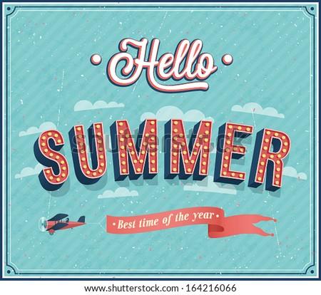 Lovely Hello Summer Typographic Design. Vector Illustration.