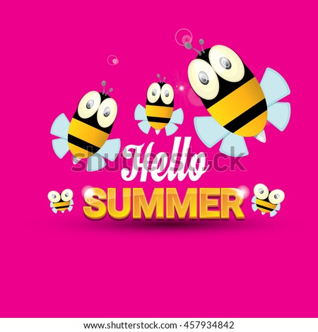 Hello Summer Vector Background With Baby Bee Flying. Kids Background With Fun...