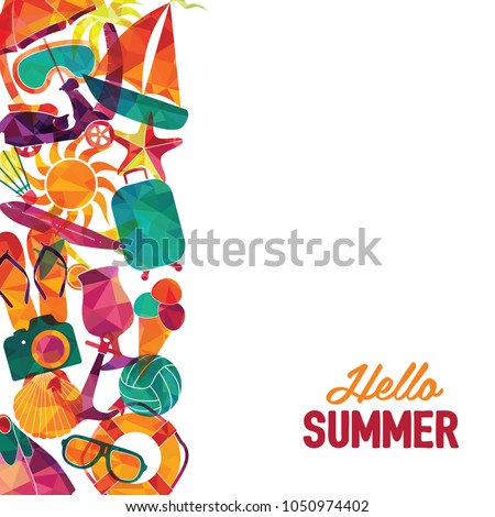 Hello summer vector banner design. Travel and tourism background.  Colorful beach elements. Vector illustration