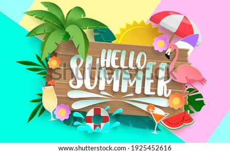 Hello summer vector concept design. Hello summer text with colorful elements like palm tree, leaves, umbrella and flamingo for tropical holiday season background. Vector illustration