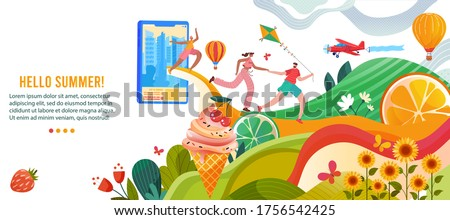 Hello summer vector illustration. Cartoon flat happy people enjoy summer nature, active man woman running with kite in hands to rest and relax in park. Summertime outdoor activity concept background Zdjęcia stock ©