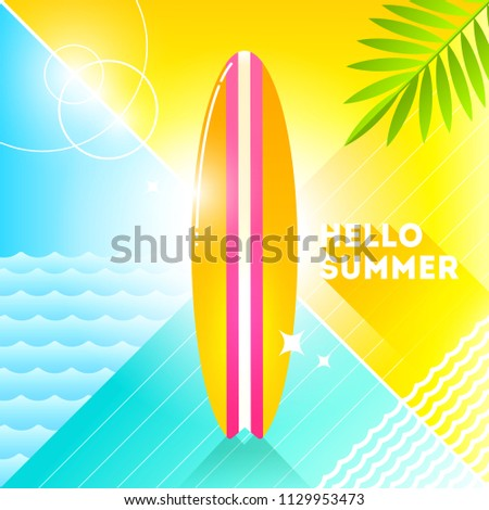 Hello summer - vector illustration. Sufrboard on a abstract background. 80's retro style illustration.Tropical vacation flat design.