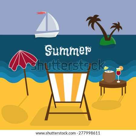 Hello Summer Vector Illustration. Summer Holidays Set With Sky, Ocean,  Sailer, Deck