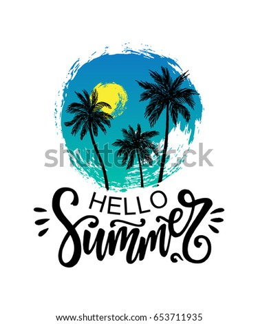 hello summer vector poster