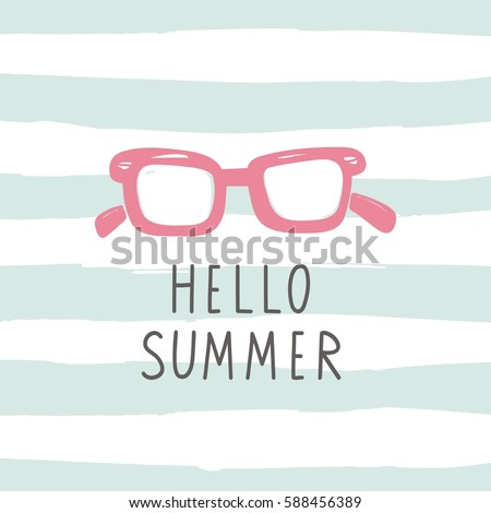 Hello summer vector print