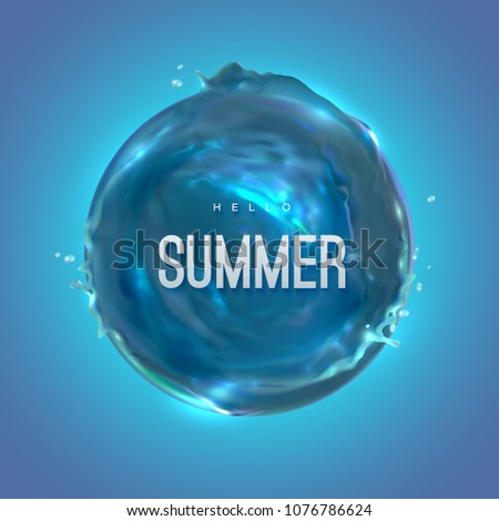 hello summer vector realistic