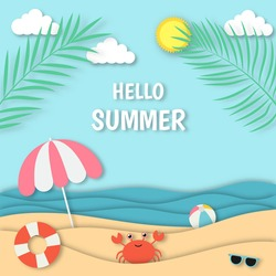 hello summer with beach landscape background. paper art style. vector Illustration.