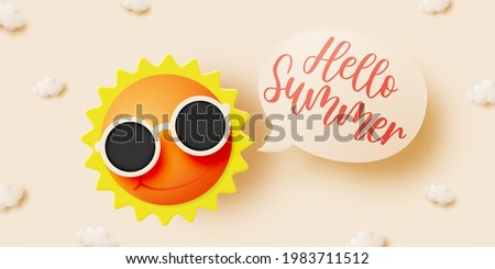 Hello summer with cute sunny and cloud in 3d paper art style background and pastel color scheme vector illustration