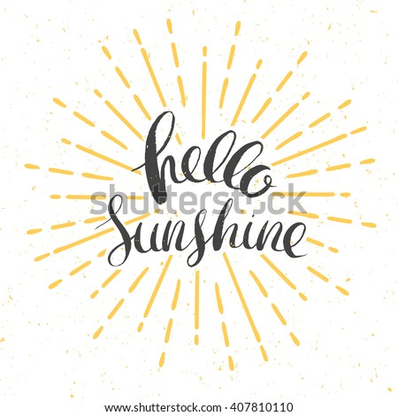 hello sunshine vector card with ...