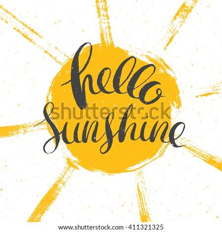 hello sunshine vector lettering, vector summer illustration