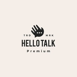 hello talk chat bubble social hipster vintage logo vector icon illustration