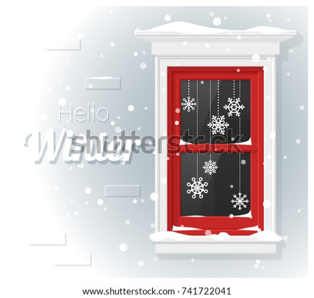 Hello winter background with window painting , vector , illustration