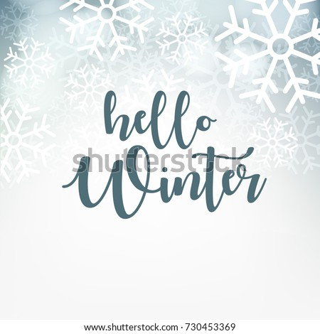 Shutterstock Hello Winter design background, Vector Illustration.