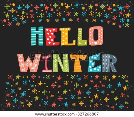 Hello Winter Greeting Card. Winter Concept Card. Cute Postcard. Vector  Illustration