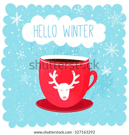 Hello Winter Illustration With Red Cup With Deer At Blue Snow Background.  Cut.