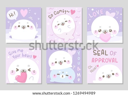 Hello winter! little cute marshmallow seal is here for you.Sweet soft pastel color. Set of square gift tag, card, badge. Funny lovely white chubby seal.Seal of approval! Vector illustration.