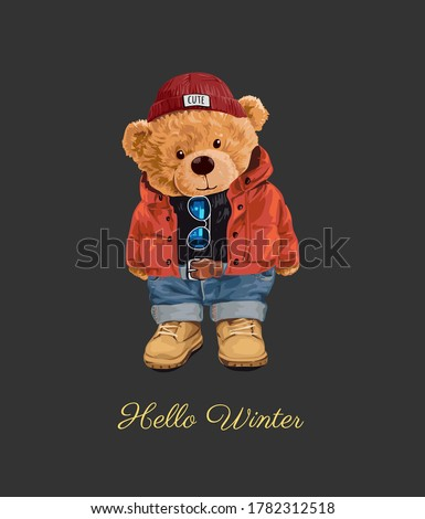 hello winter slogan with bear toy in winter style illustration