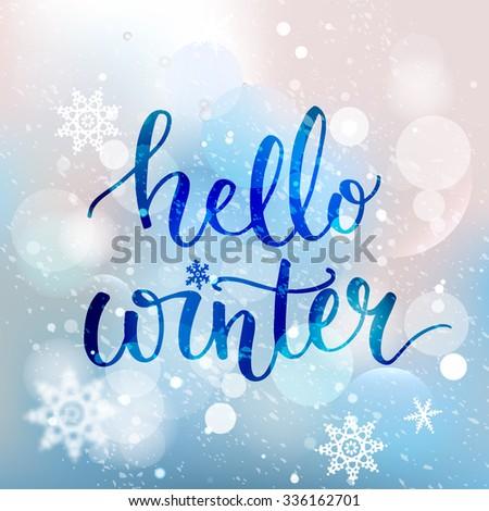 hello winter text brush