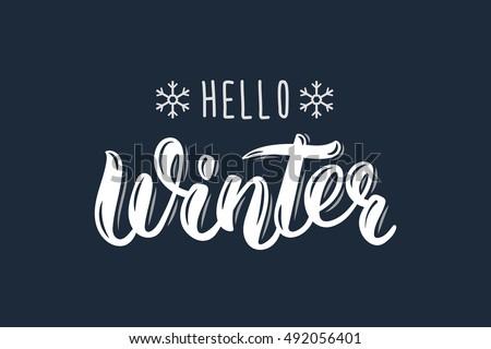 hello winter trendy hand
