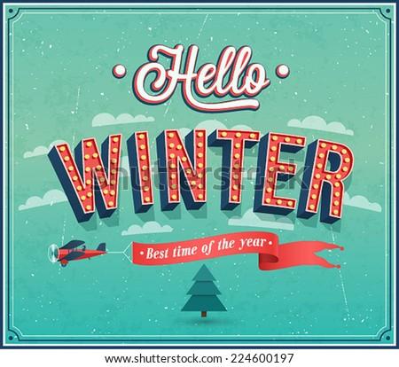 hello winter typographic design