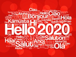 Hello 2020 word cloud in different languages of the world, background concept