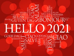 Hello 2021 word cloud in different languages of the world, background concept