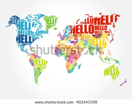 Hello world descargue grficos y vectores gratis hello word cloud world map in typography background concept gumiabroncs Image collections