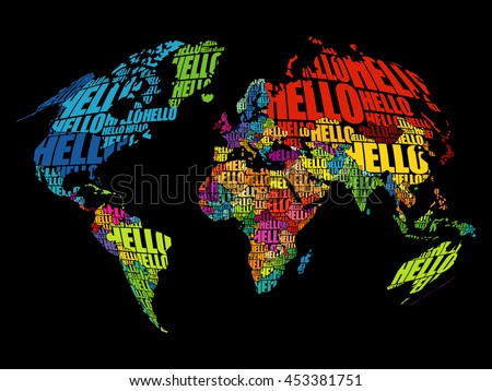 hello word cloud world map in