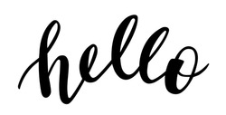 Hello word hand lettering vector greetings elements for cards, banners, posters, scrapbooking, pillow, cups and clothes design.