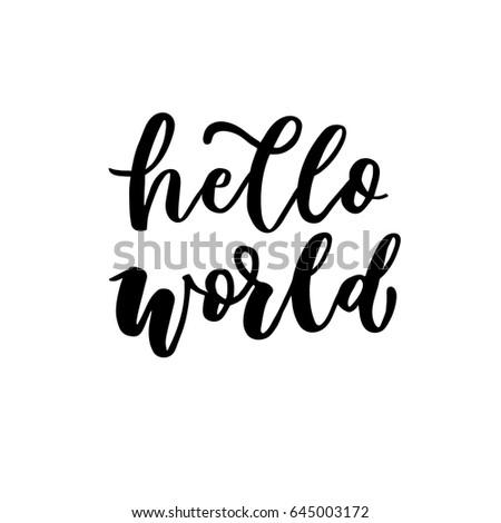 hello world hand lettering