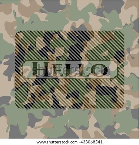 Hello written on a camo texture
