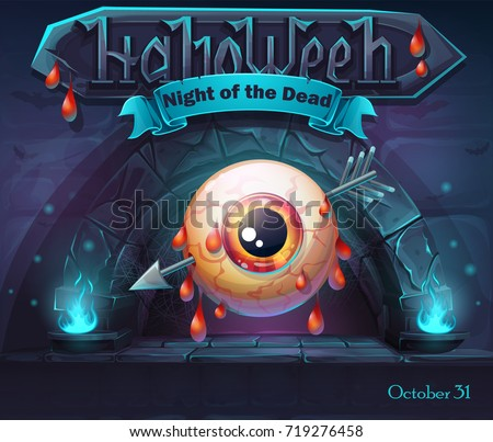 Helloween - Night of the dead with pierced eye. For web, video games, user interface, design